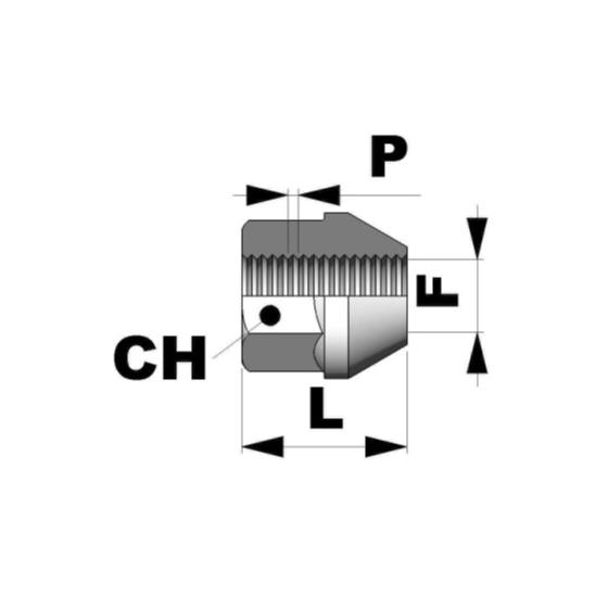 Tuerca conica abierta M12x1,5 L17 C17