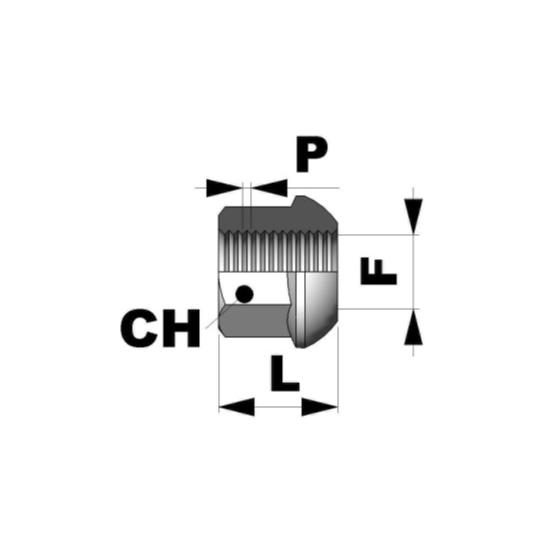 Tuerca esferica abierta M12x1,5 L19 C19